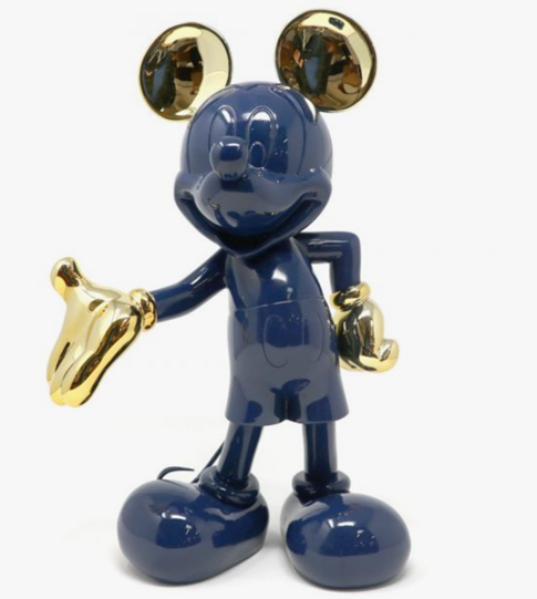 Mickey Welcome Glossy Blue & Chromed Gold by Leblon Delienne - Limited Edition Sculpture